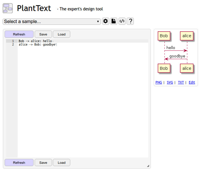 PlantText UML screen shot
